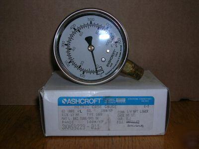 Ashcroft 1008 pressure gauge 0-100PSI silicone fill.